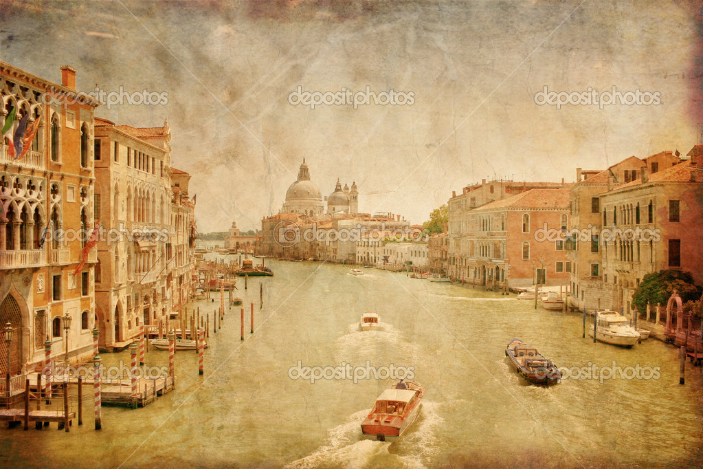 Grand Canal in Venice in grunge style, Italy
