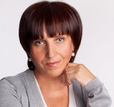 Portrait mature woman looking at camera stock vector