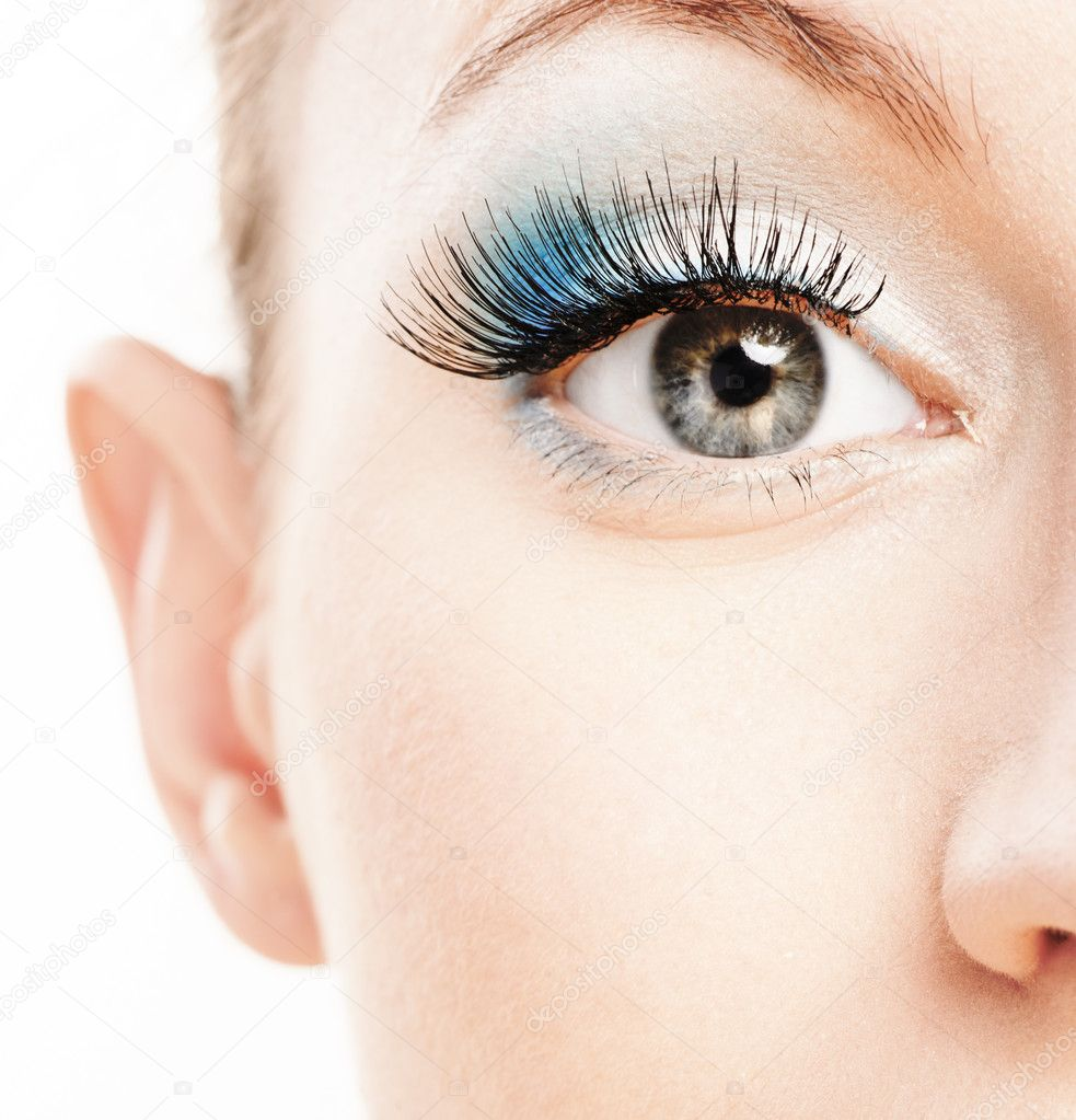 Eye and nose of beautiful young woman