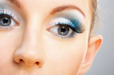 Eyes and nose of beautiful young woman