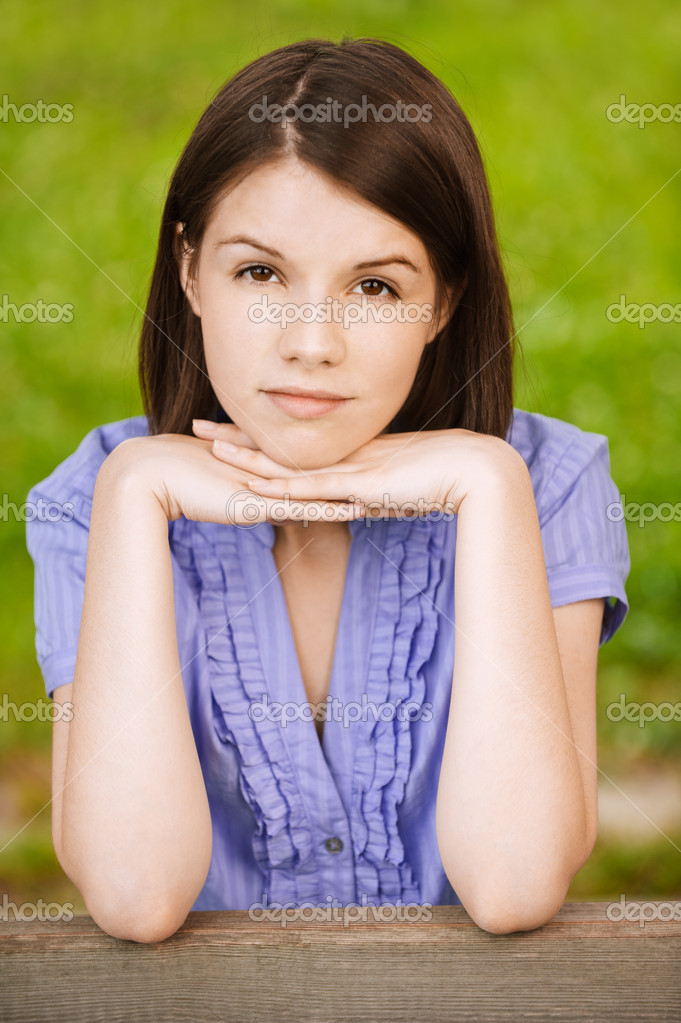 Portrait of young appealing brunette