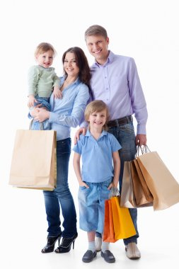 Family with shopping