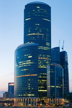 Skyscrapers in Moscow at a evening