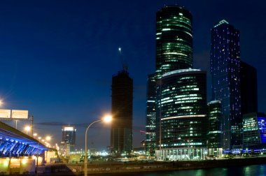 Modern skyscrapers with bridge