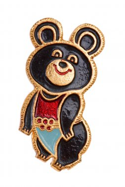 Soviet badge with Olympic bear macro
