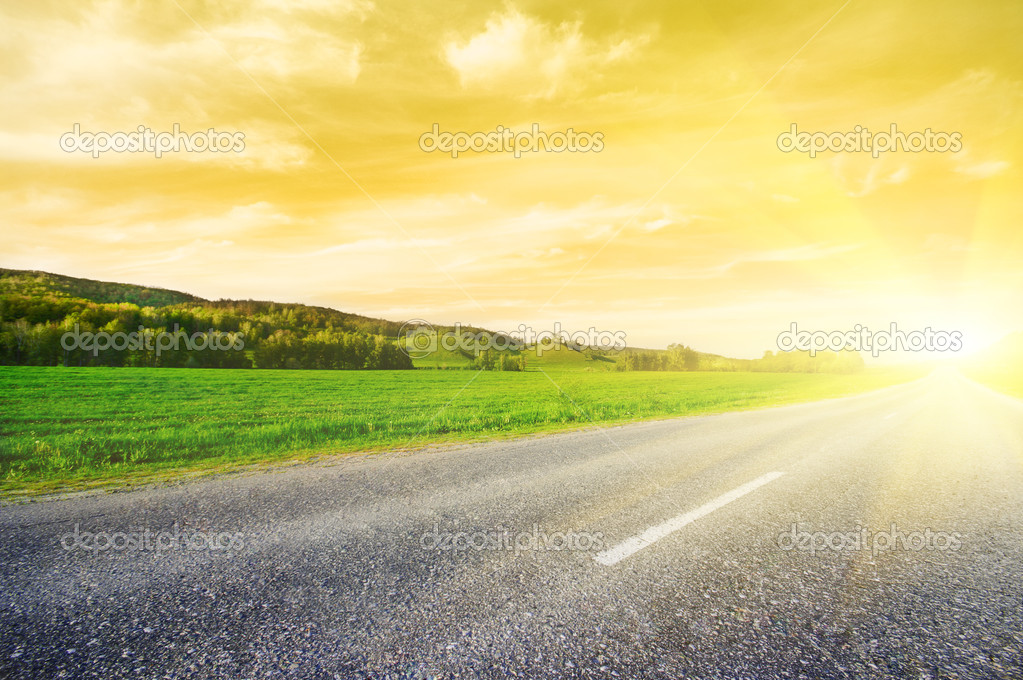 Rural road to sunrise