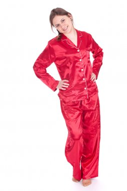 Standing woman in red pajamas