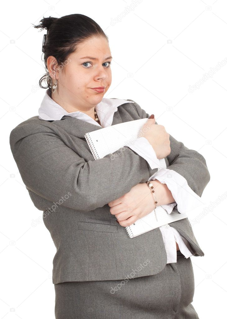 Fat woman with blank card