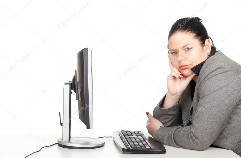 Fat businesswoman and computer, series