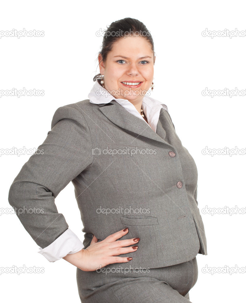 Smiling fat businesswoman, series
