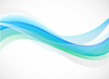 Abstract background of blue wave on white