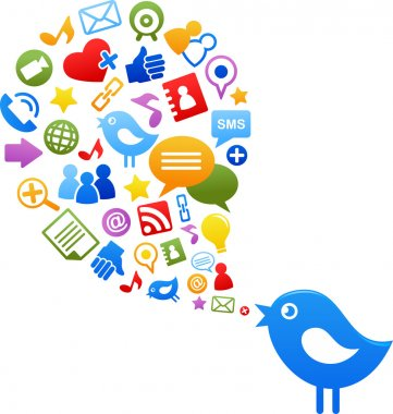 Blue bird with social media icons