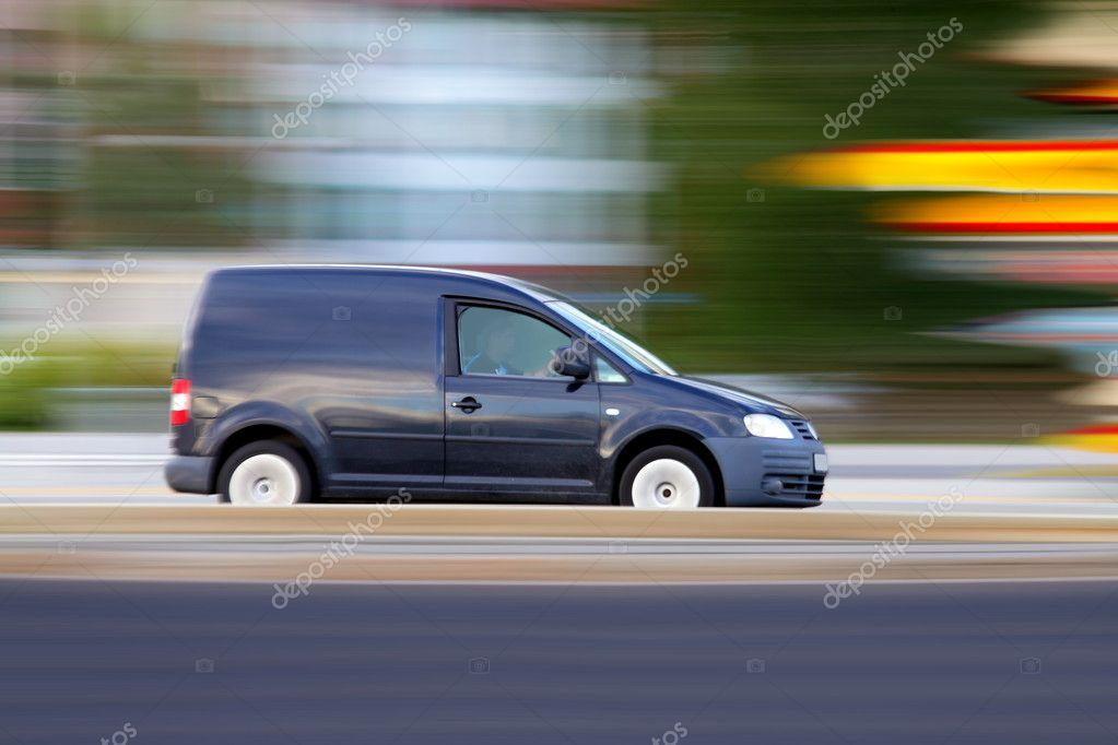 Speedy minivan is going on road