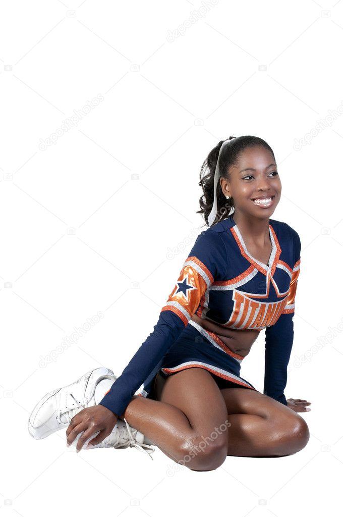 Commit error. Young teen girl cheerleader mistake
