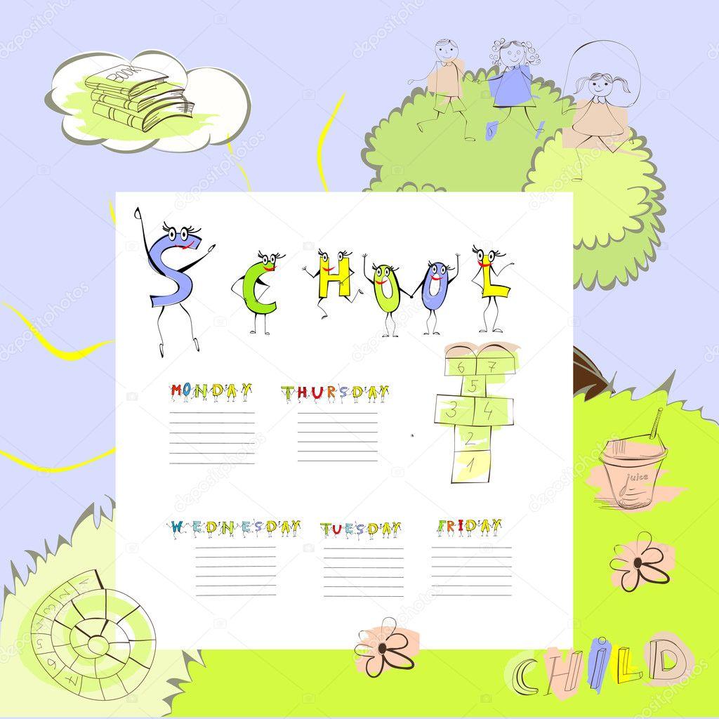 vorlage für die schule-zeitplan — Stockvektor © Jershova #5402654
