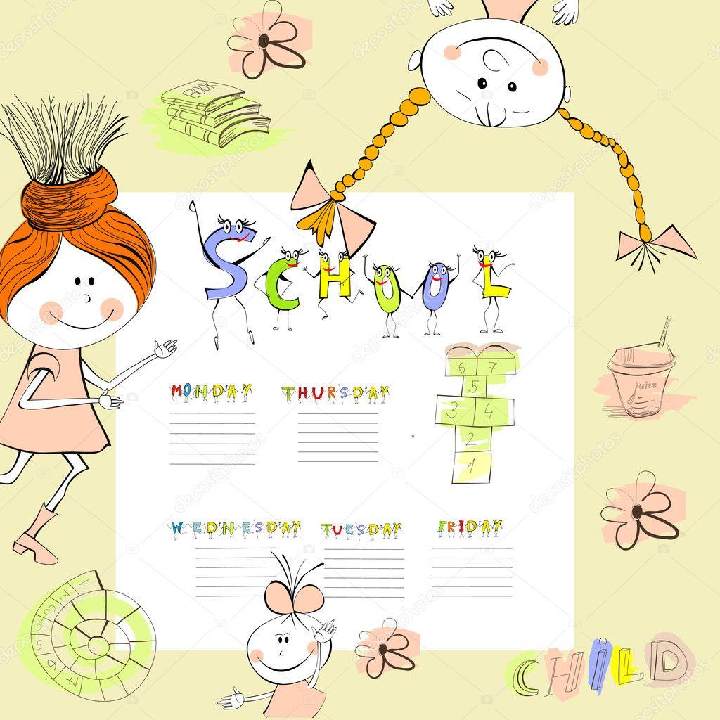 plantilla para calendario escolar — Archivo Imágenes Vectoriales ...