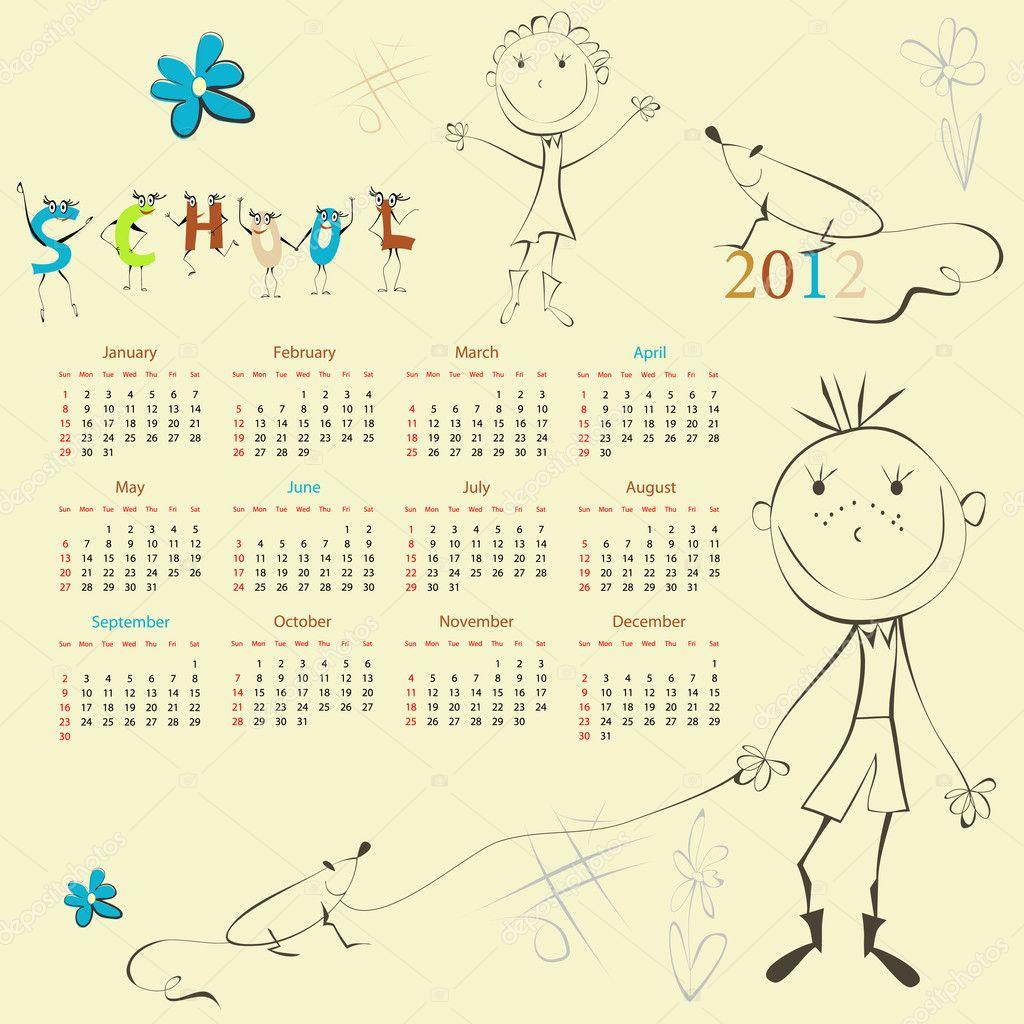plantilla para calendario 2012 — Archivo Imágenes Vectoriales ...