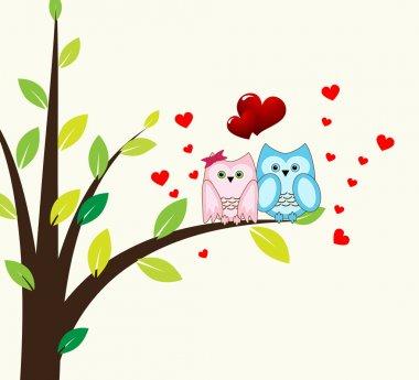 Vector cute wise owls fallen in love