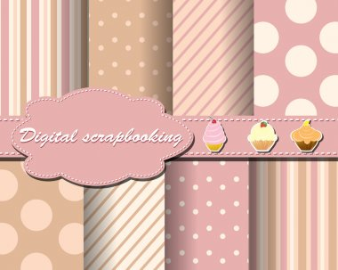 Set of flower vector paper for scrapbook with cake