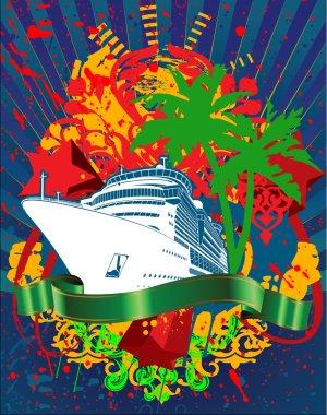 Ocean Cruise Liner Splash And Green Banner