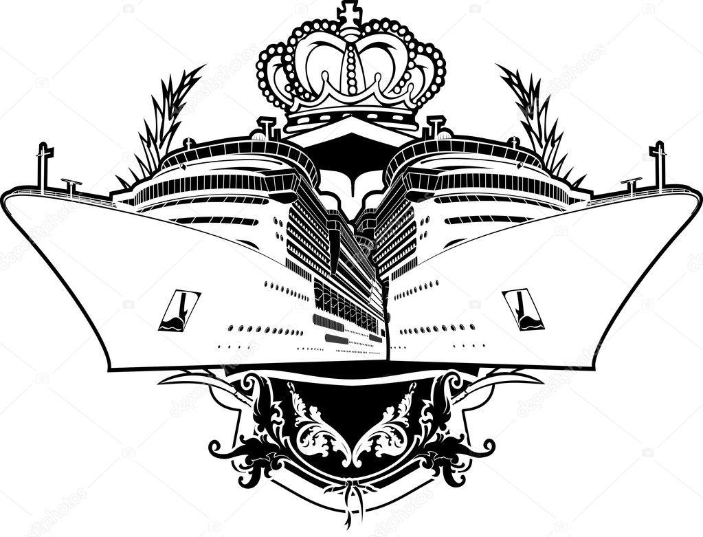 un apartamento de lujo de color signo barco de cruceros — Vector de ...