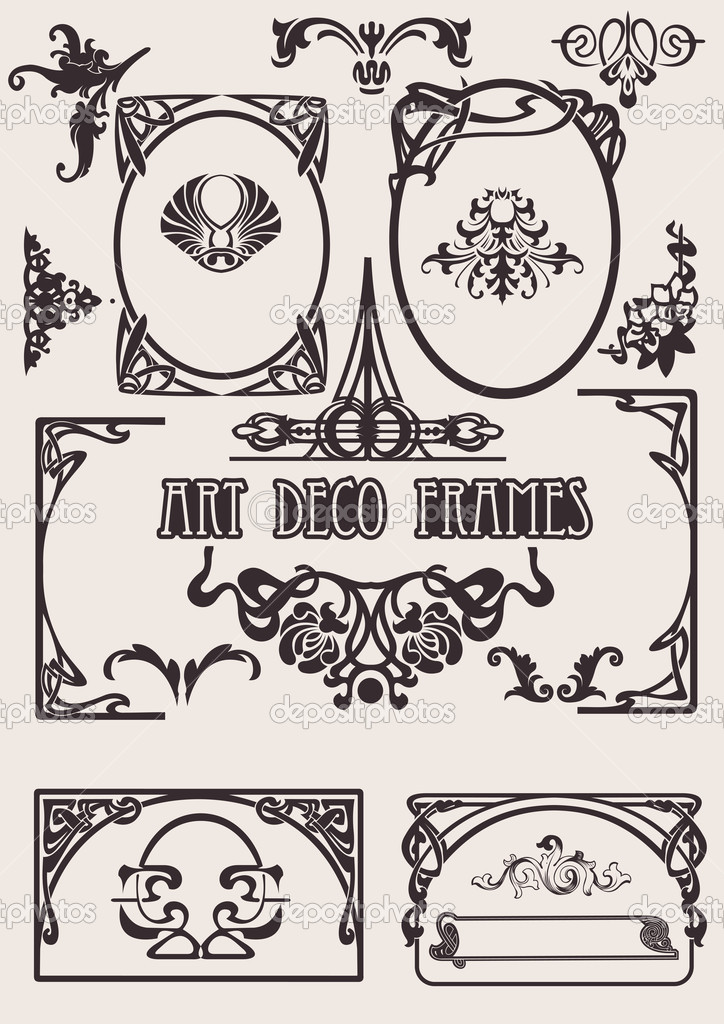 four black and white art deco frames others in portfolio stock vector