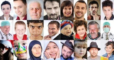 Collage of a lots of different cultures and ages, common with different expressions