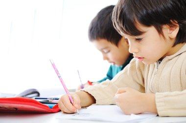 Two cute school boys working on their homework together