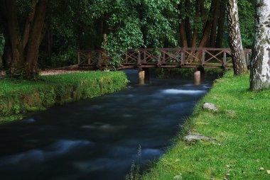 River and small bridge above