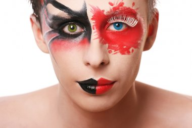 Beautiful man with abstract make up