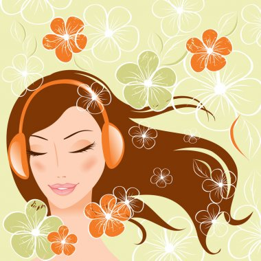 Pretty girl with headphones. vector illustration