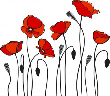 Abstract floral red poppy card illustration clip art vector