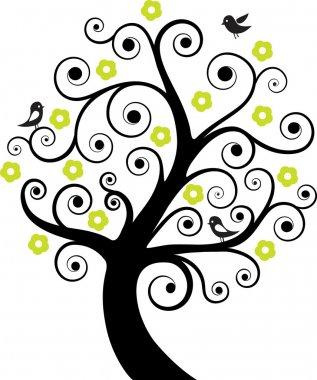 Abstract tree with birds. Vector illustration clip art vector