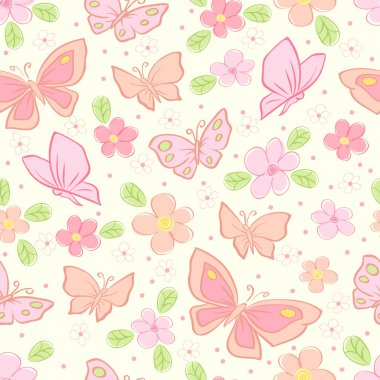 Seamless vector background with butterfly
