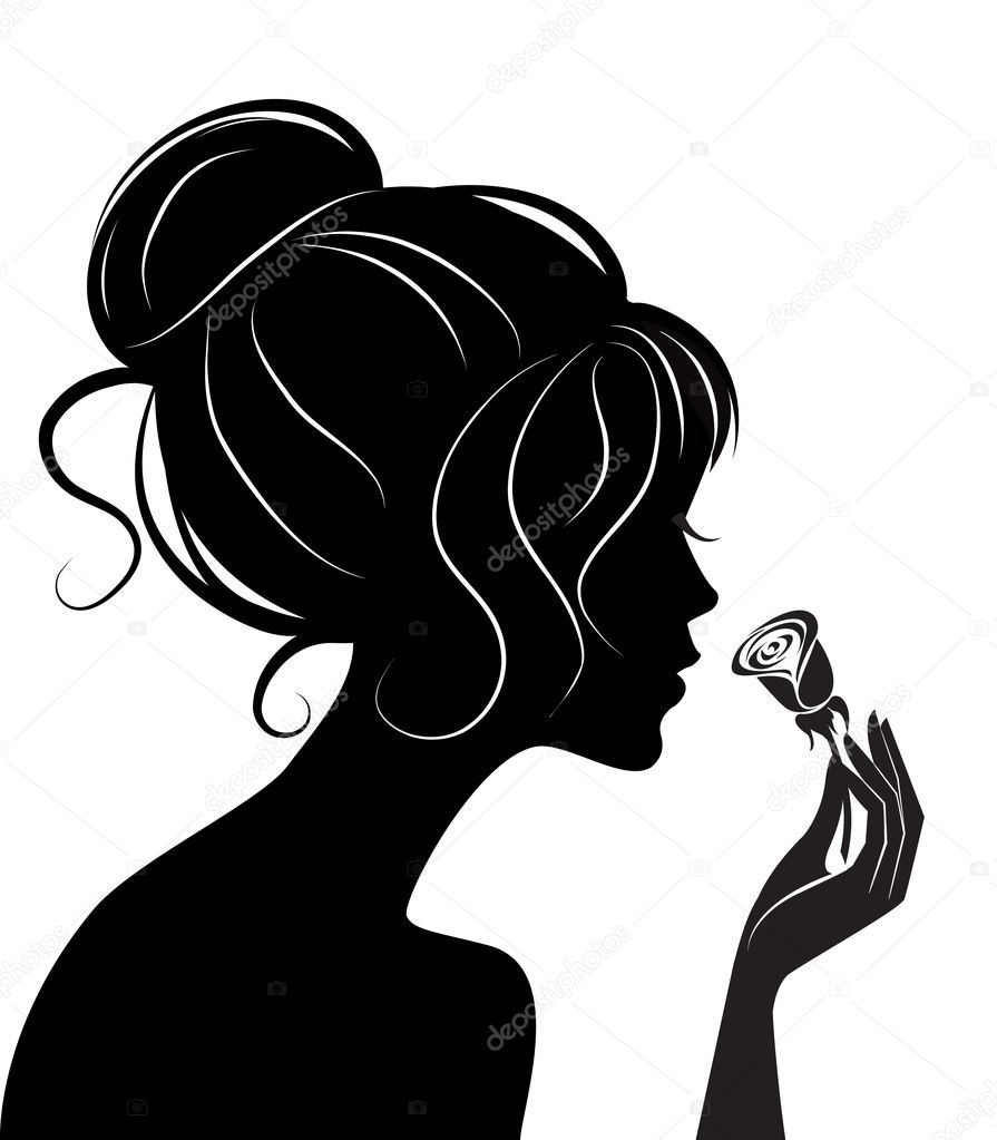 Beauty girl silhouette with rose