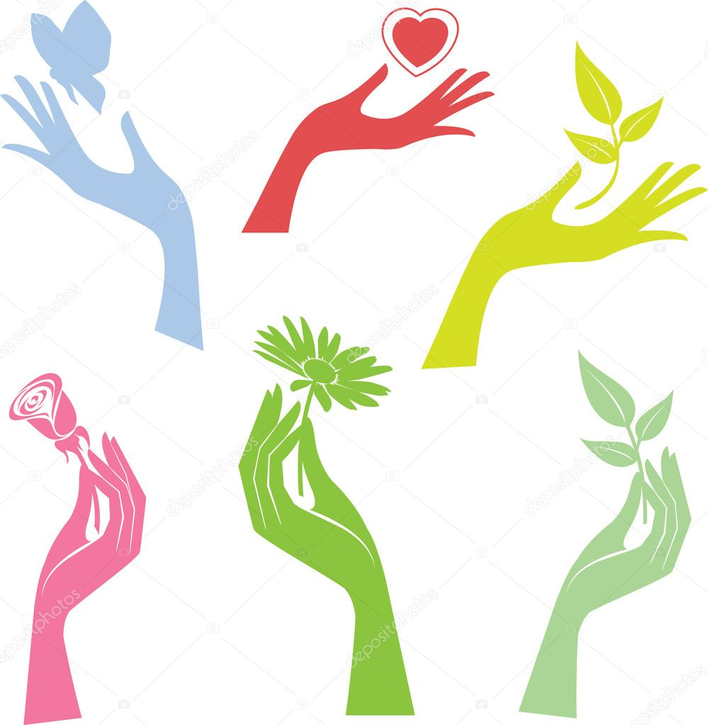 Illustrated hand presenting a flower