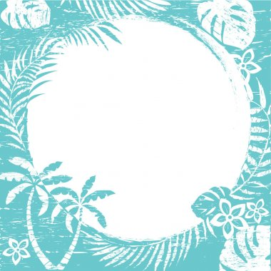 Grunge abstract tropical border