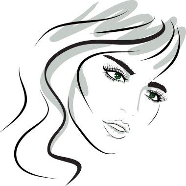 Beauty girl face. design elements.