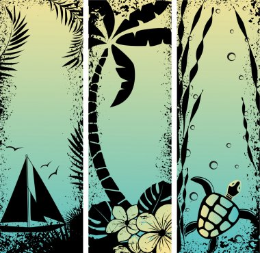 Set sea grunge banners. Vector illustration