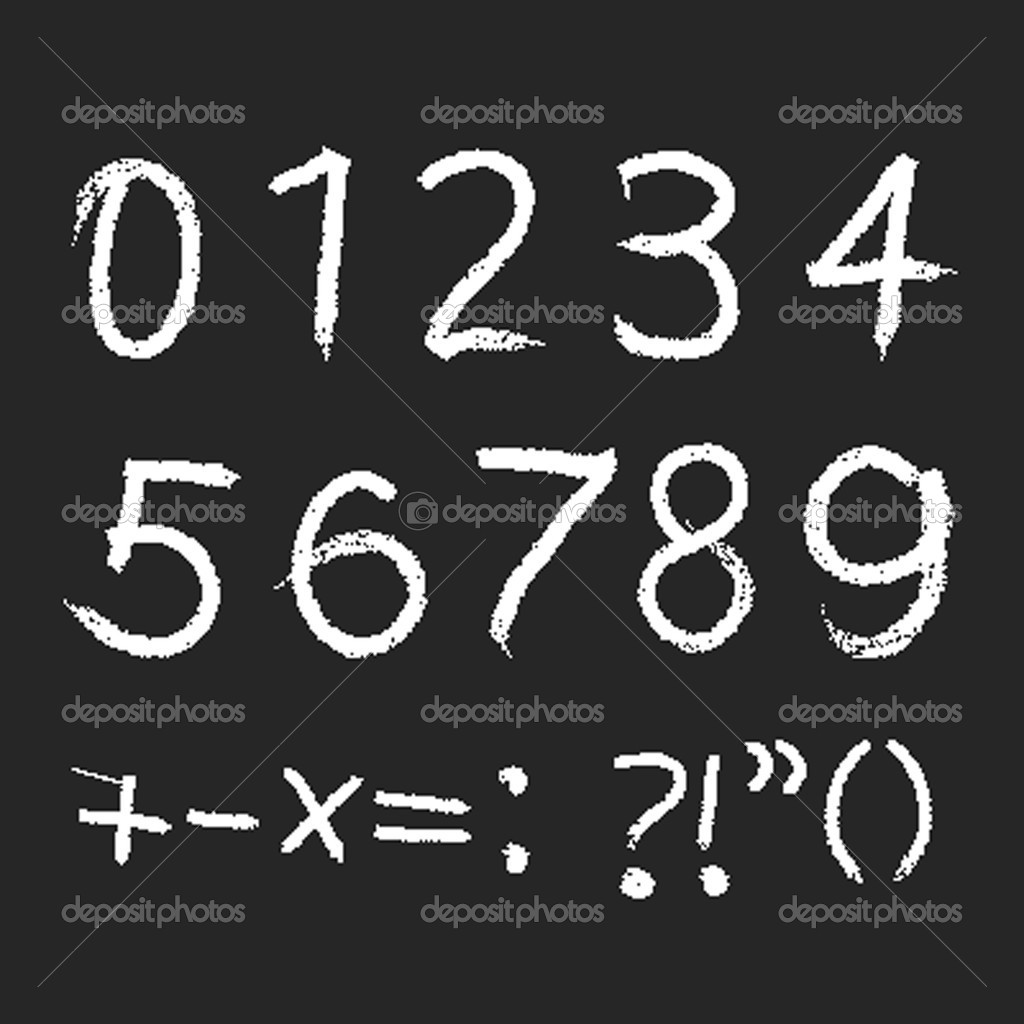 Pencil or charcoal chalk numbers set