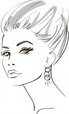 Girl face. design elements. Vector Illustration