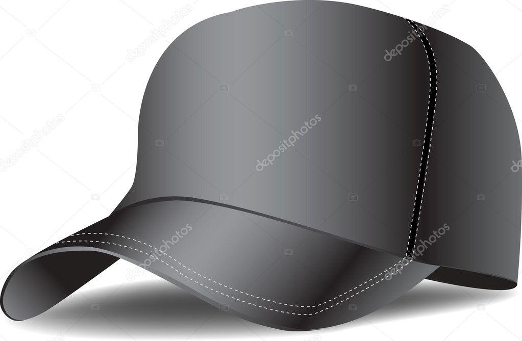7f05061e96e0 Vector: gorra beisbol   Gorra de béisbol negra — Vector de stock ...