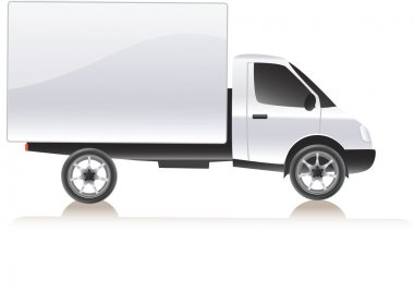 Vector delivery cargo truck . Isolated on white