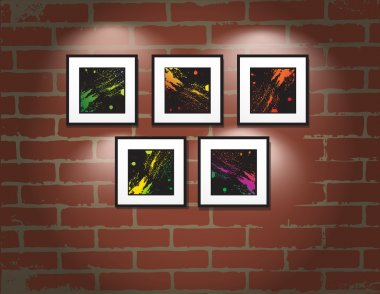 Vector frame on brick wall. Art gallery