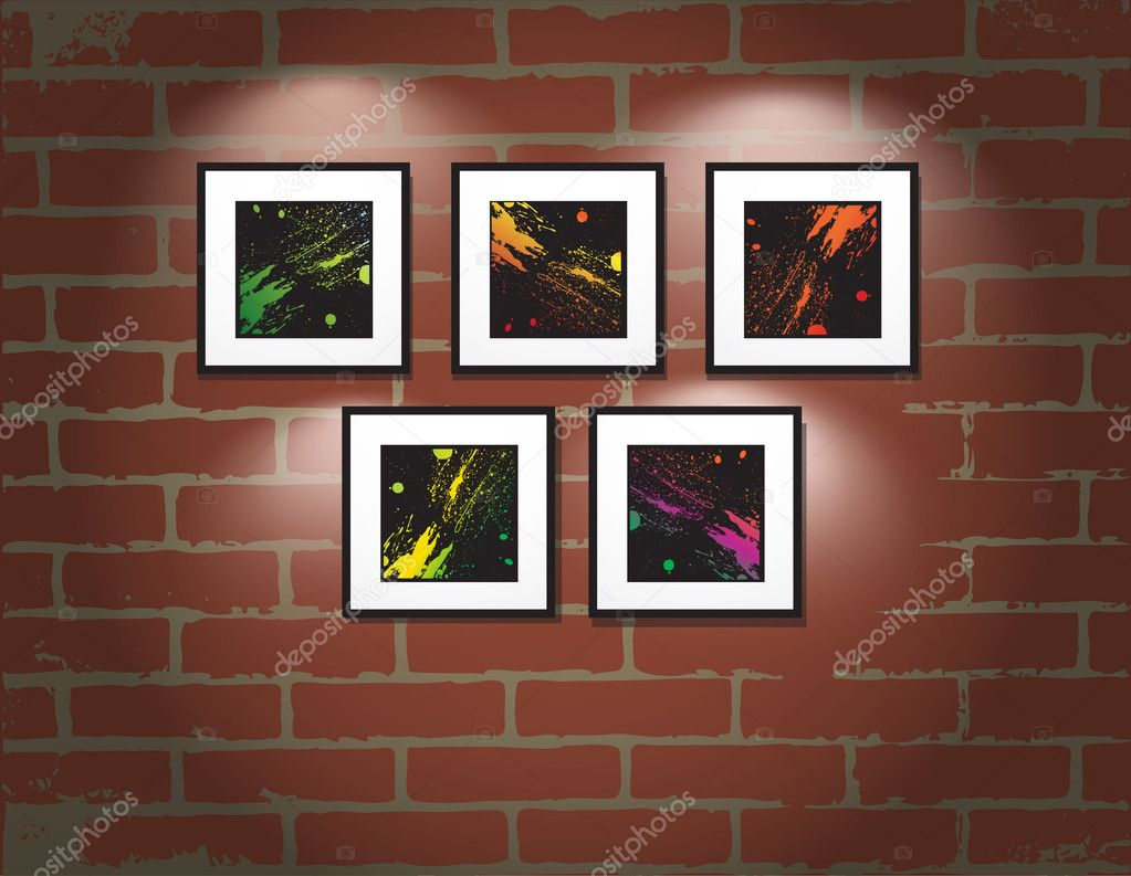 Vector Frame On Brick Wall Art Gallery Stock