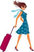 Fotografie Frau mit einem Gepäck-Tasche. Gepäck-Tasche