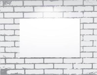 Empty frame on a brick wall. Art gallery.