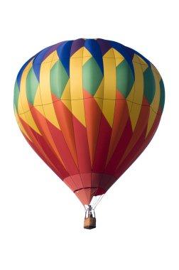 Colorful hot-air balloon against white