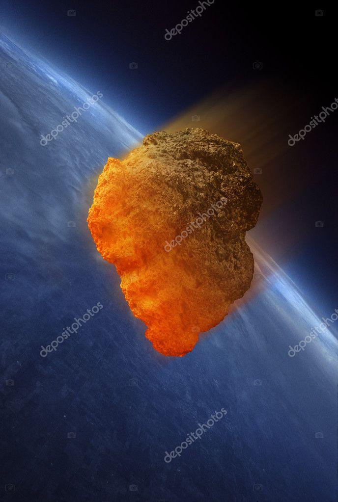 Meteor striking Earth atmosphere