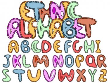 vector ethinic latin alphabet